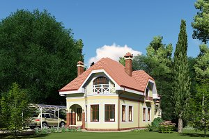 3D visualization. House in the fores