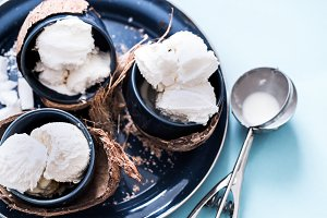 coconut ice cream, blue background