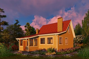 3D visualization. Wooden house.
