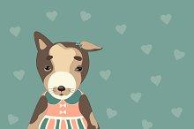 Cute puppy in a pink dress