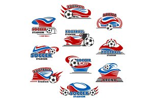 Soccer stadium or football sport arena icon design