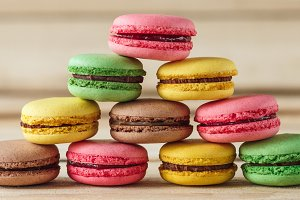 Colored french macarons