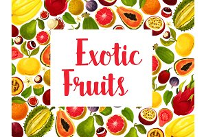 Exotic and tropical fruit frame for food design