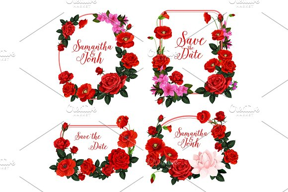 Wedding Invitation Design With Frame Of Red Flower