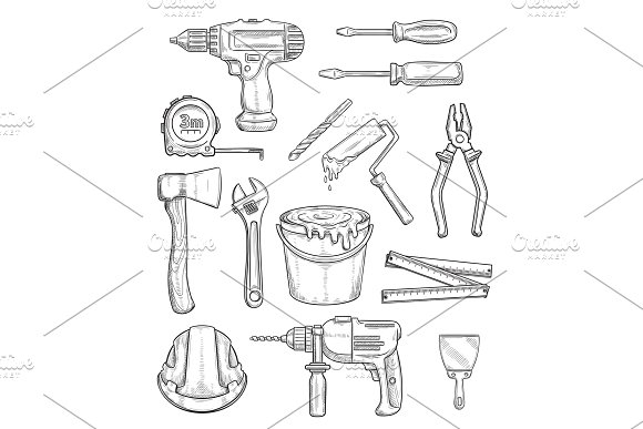 Tool Sketch Of Repair And Construction Instrument