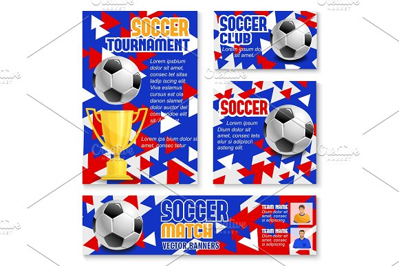 Soccer Match Banner With Football Trophy And Ball