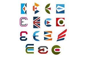 Letter E icon, font for corporate identity design