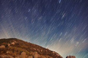 Star Trail over the rocks