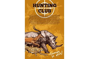 Hunting club banner with target and african animal