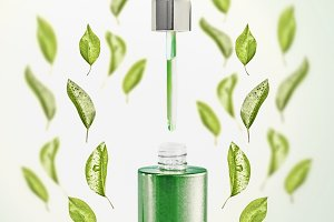 Serum bottle with green leaves