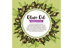 Olive oil label with green branch wreath sketch