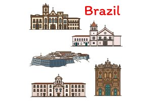 Brazilian travel landmark icon of South America
