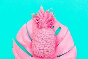 painted pink pineapple