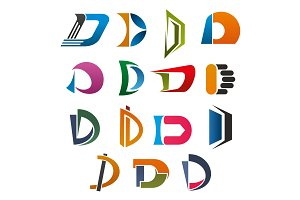 D icon of abstract letter font for business design