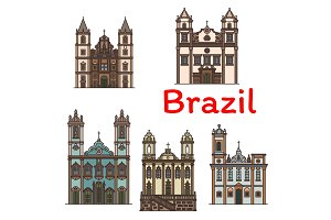 Brazilian architecture travel landmark linear icon