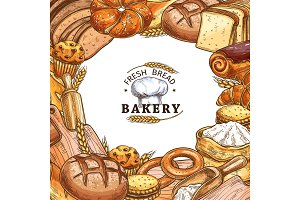 Bakery shop poster with bread, sweet pastry sketch