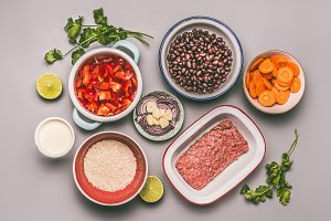 Bowls with cooking ingredients