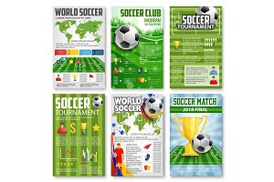 Soccer or football tournament 3d banner with ball