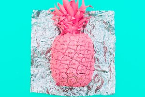 pineapple on square foil