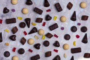 Assortment of fine chocolate candies, white, dark, and milk chocolate