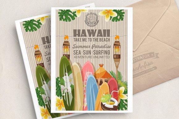 Hawaii Vector Travel Illustration