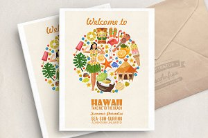 Hawaii vector travel illustration