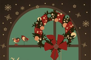 Greeting card with wreath on window