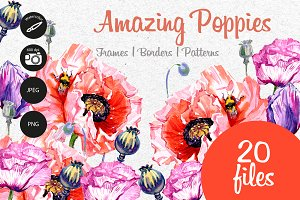 Amazing poppies PNG watercolor set