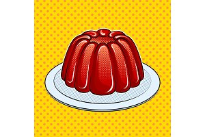 Jelly dessert pop art vector illustration