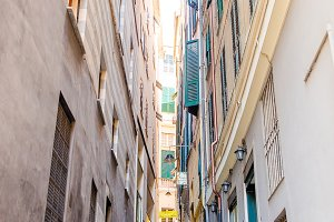 Medieval street in the Italian hill town of Genova. The traditional italian medieval historic center in Liguria, Italy