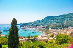 Beautiful scenic view of old village Rapallo in Cinque Terre, Liguria, Italy