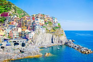 Beautiful view of the amazing old village in the Cinque Terre reserve. Liguria region of Italy.