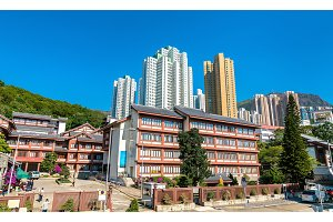 Chi Lin Nunnery, a large Buddhist temple complex in Hong Kong, China