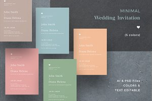 Minimal Colorful Wedding Invitation