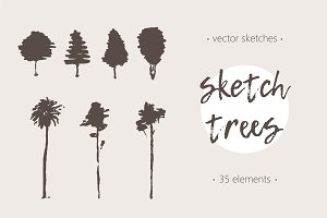 Collection of sketches of trees