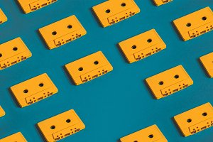 Retro audio tape tapes lie on a blue