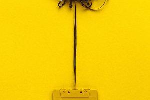 Retro audio tape On Yellow Backgroun