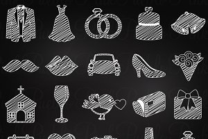 Chalkboard Wedding Icons
