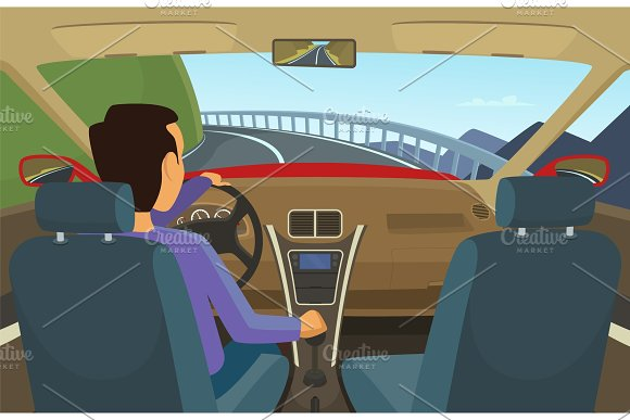 Driver Inside His Car Vector Illustration In Cartoon Style