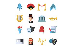 Culture symbols. Masks and others theatre icon set
