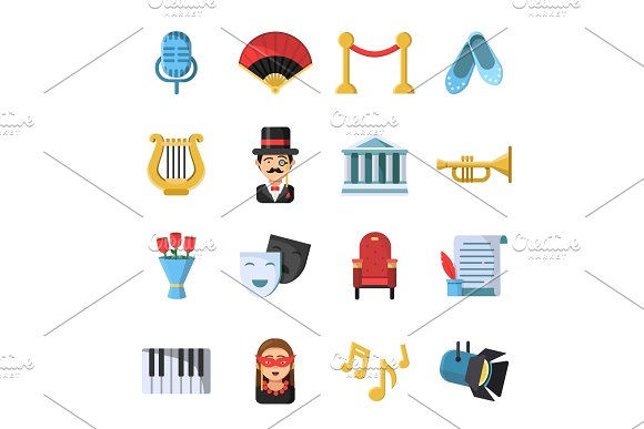 Culture Symbols Masks And Others Theatre Icon Set