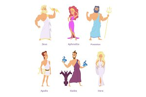 Ancient greek mythology. The gods and goddesses of olympus. Cartoon funny characters
