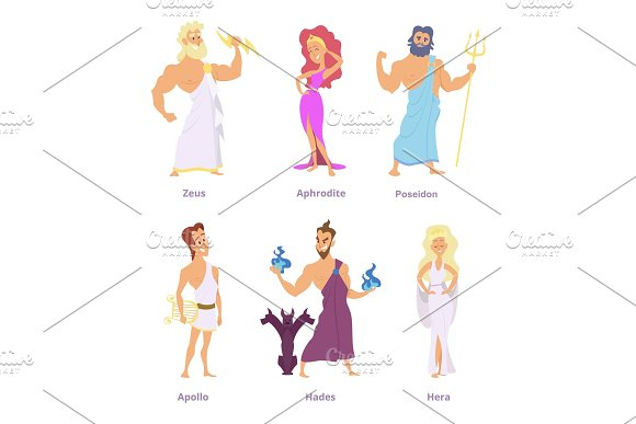 Ancient Greek Mythology The Gods And Goddesses Of Olympus Cartoon Funny Characters
