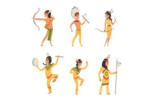 Set characters in cartoon style. Traditional American indians