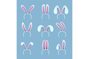 Set of rabbit ears. Easter masks in cartoon style