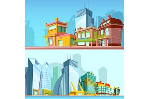 Horizontal banners with urban streets and modern buildings. Illustrations in cartoon style