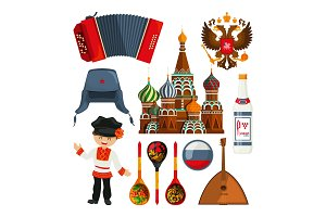 Russian landmarks and different traditional symbols
