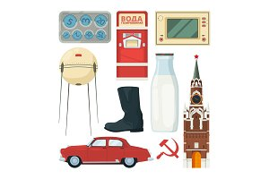 Isolated vector collection of historical landmarks and symbols of USSR with carbonated water text