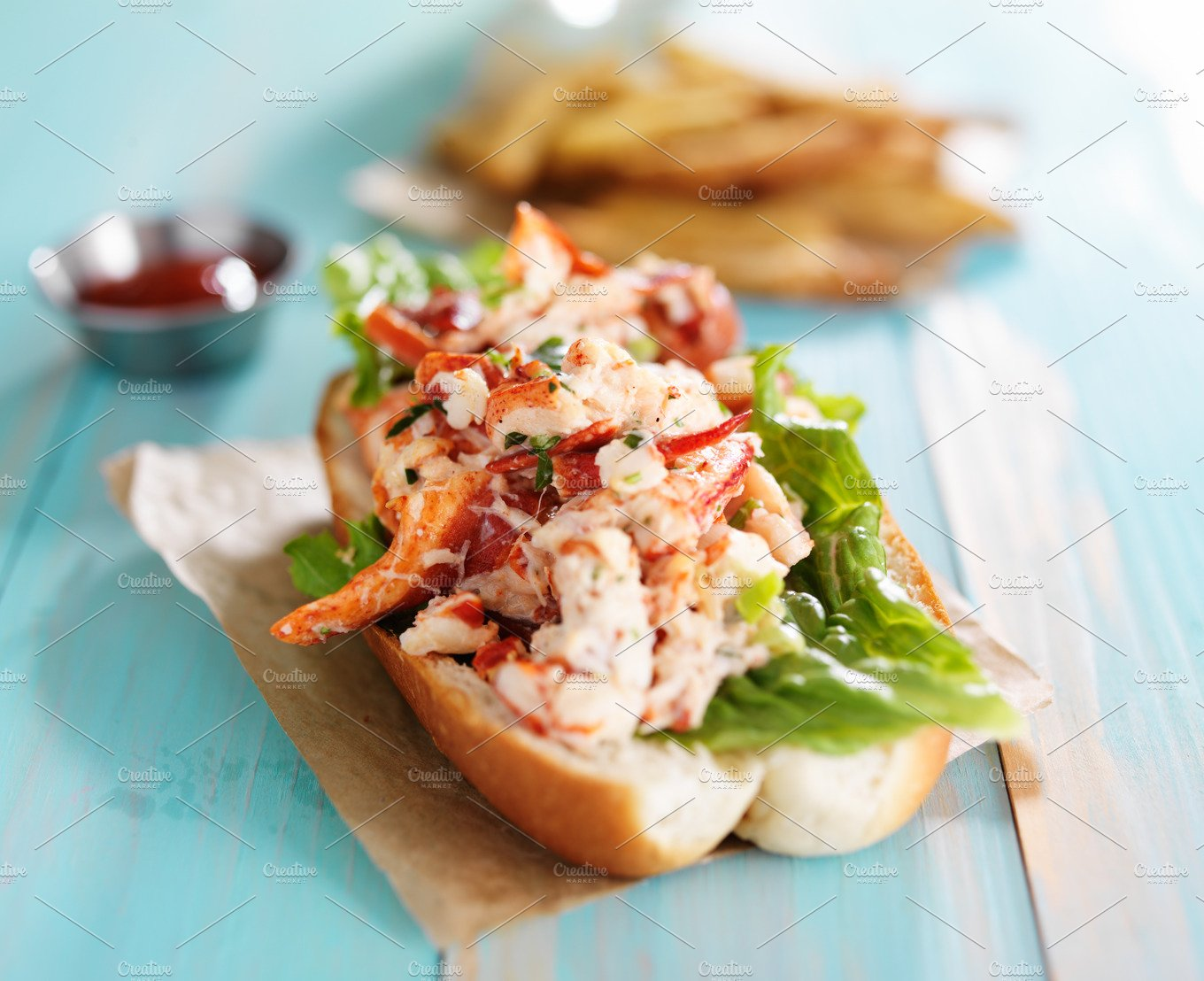 gourmet lobster roll with fries ~ Food & Drink Photos ...