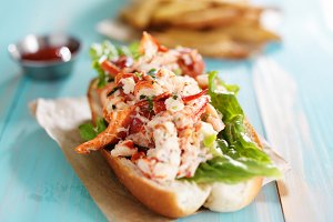 gourmet lobster roll with fries